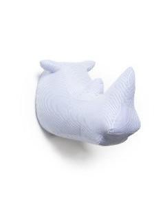 Cabeza rinoceronte blanco y azul